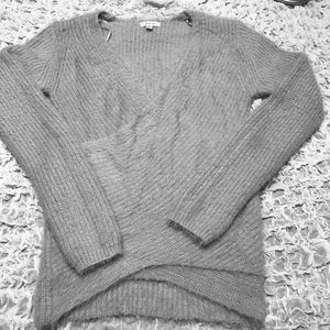 Debut, grey long sleeve wrap cotton  sweater